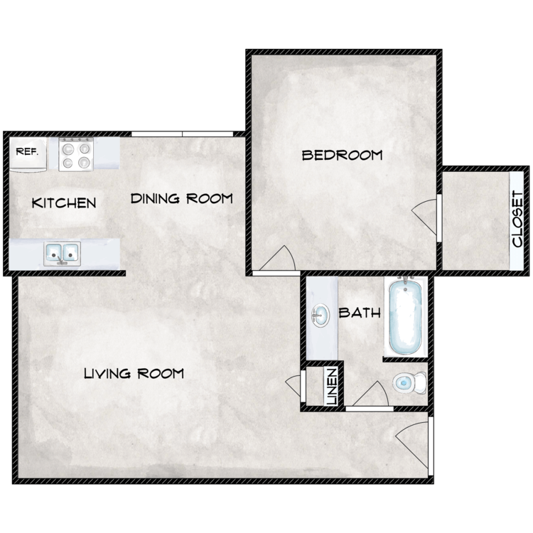 1 Bedroom 1 Bath Flat floor plan image