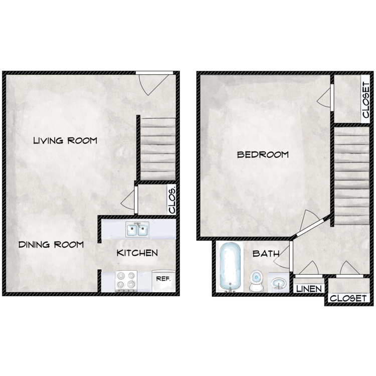 1 Bedroom 1 Bath Townhome floor plan image
