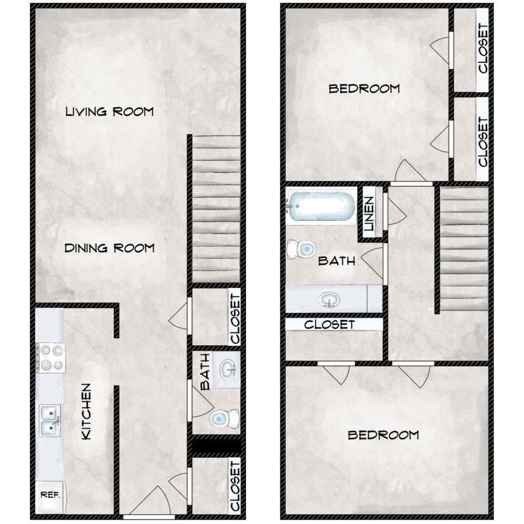2 Bedroom 1.5 Bath Townhome Renovated floor plan image