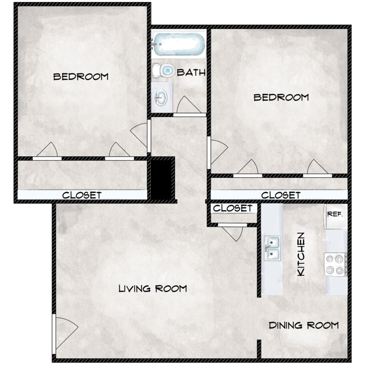 2 Bedroom 1 Bath Flat floor plan image