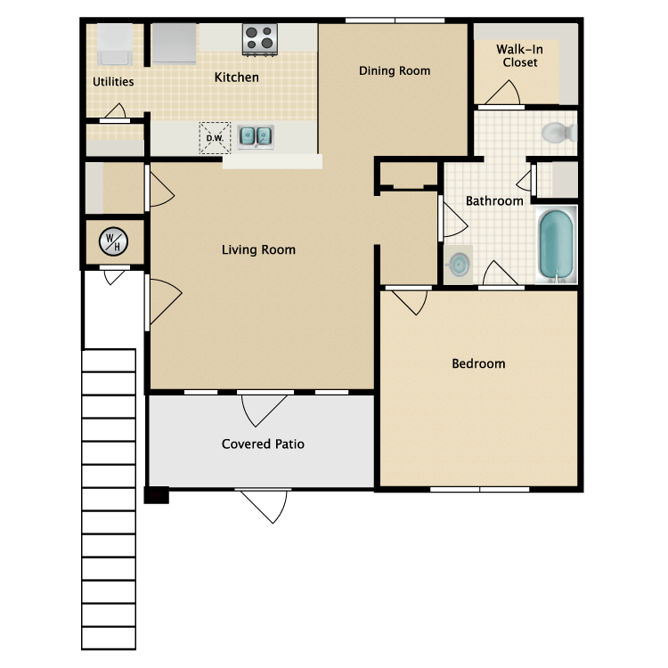 Floor plan image of 1 Bed 1 Bath with Dining Room