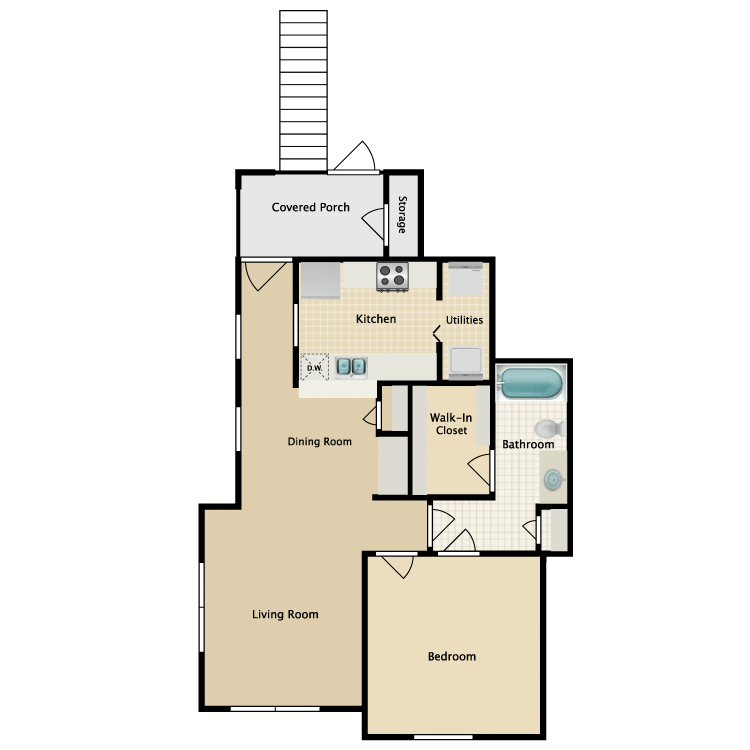 Floor plan image of 1 Bed 1 Bath with Dining Room (A1/A2)