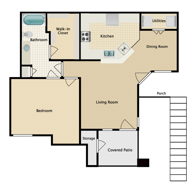Floor plan image of 1 Bed 1 Bath with Dining Room (B1/B2)