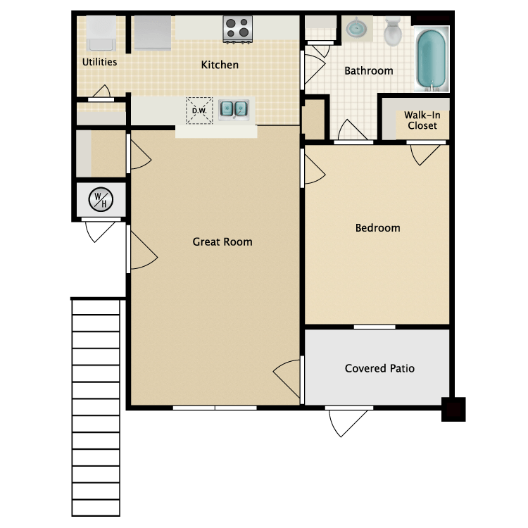 Floor plan image of 1 Bed 1 Bath with Great Room