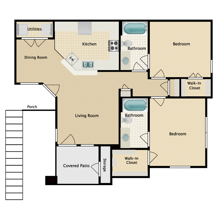 Floor plan image of 2 Bed 2 Bath with Dining Room (C1/C2)