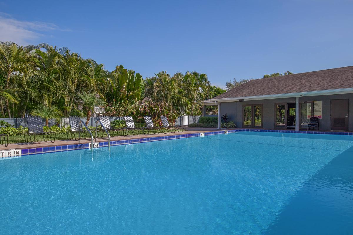 Relax by the poolside at Arbor Oaks Apartments in Bradenton, FL.