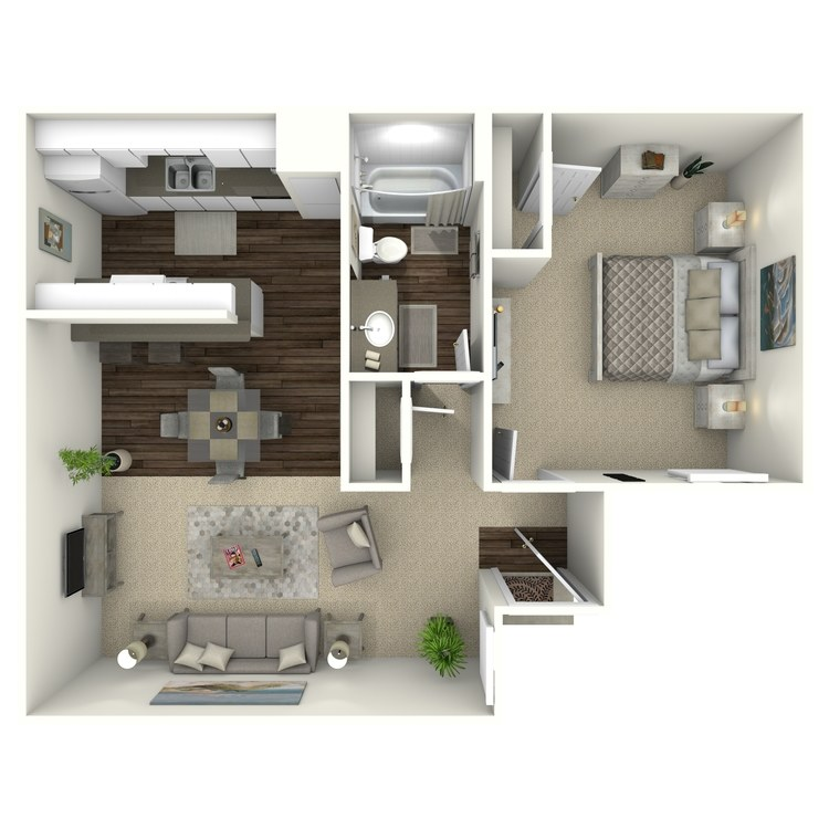 Floor plan image of A1S 1 Bed 1 Bath