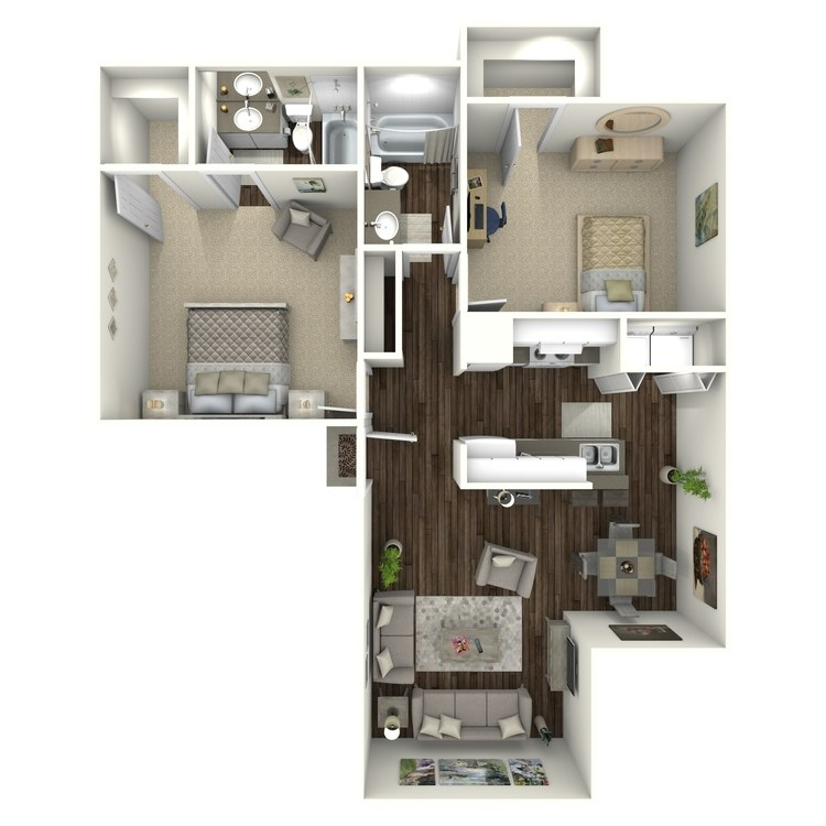 Floor plan image of B2W 2 Bed 2 Bath