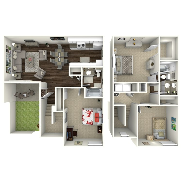 Floor plan image of C2 3 Bed 2 Bath