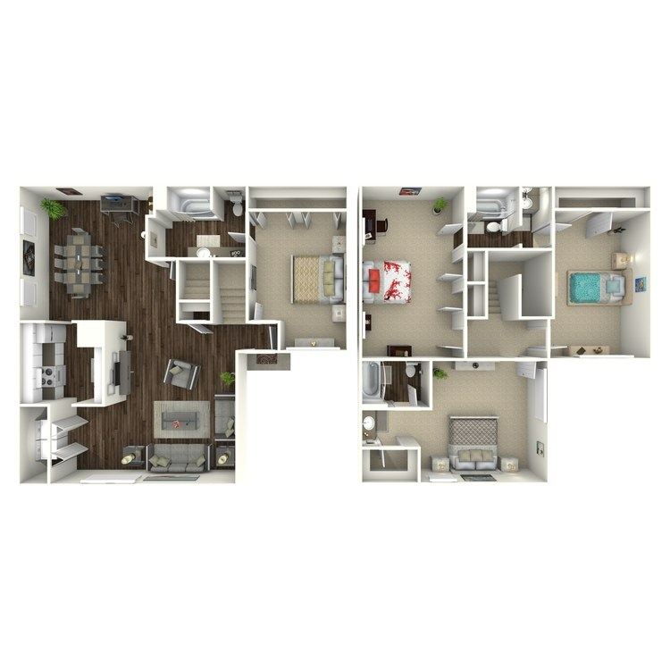 Floor plan image of D3 4 Bed 3 Bath