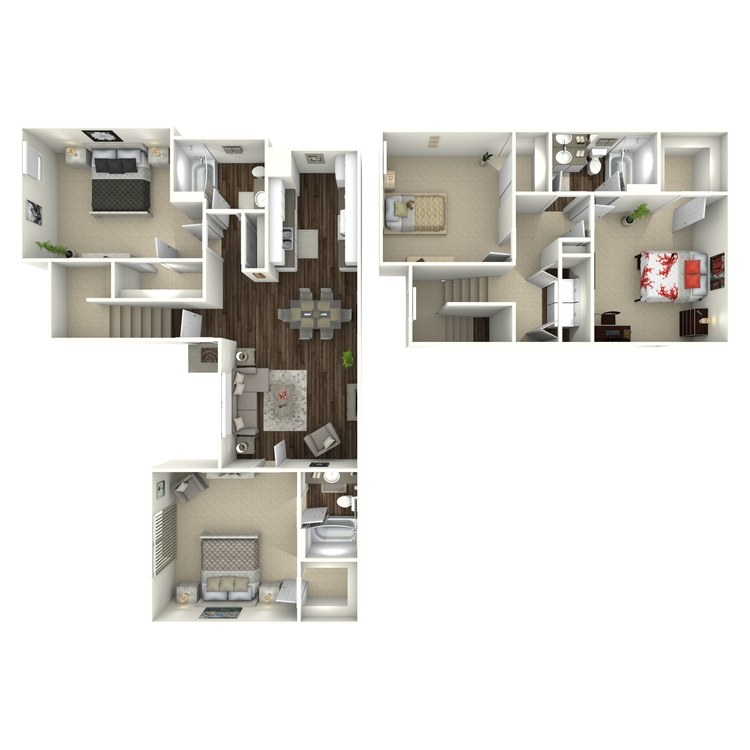 Floor plan image of D2 4 Bed 2 Bath