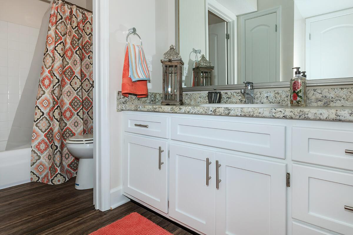 Remodeled bathroom in one bedroom apartment