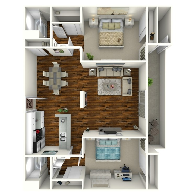 Floor plan image of 2 Bed 2 Bath