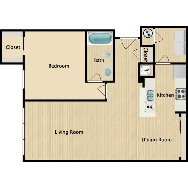 1 Bed 1 Bath floor plan image