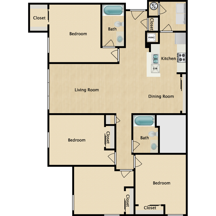 4 Bed 2 Bath floor plan image