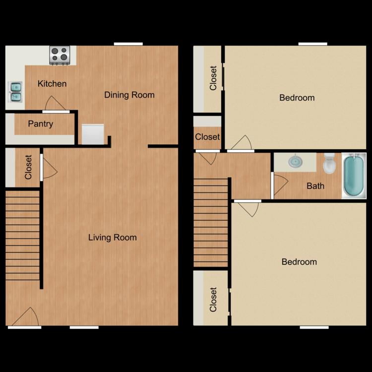 Floor plan image of 2 Bed, 1 Bath