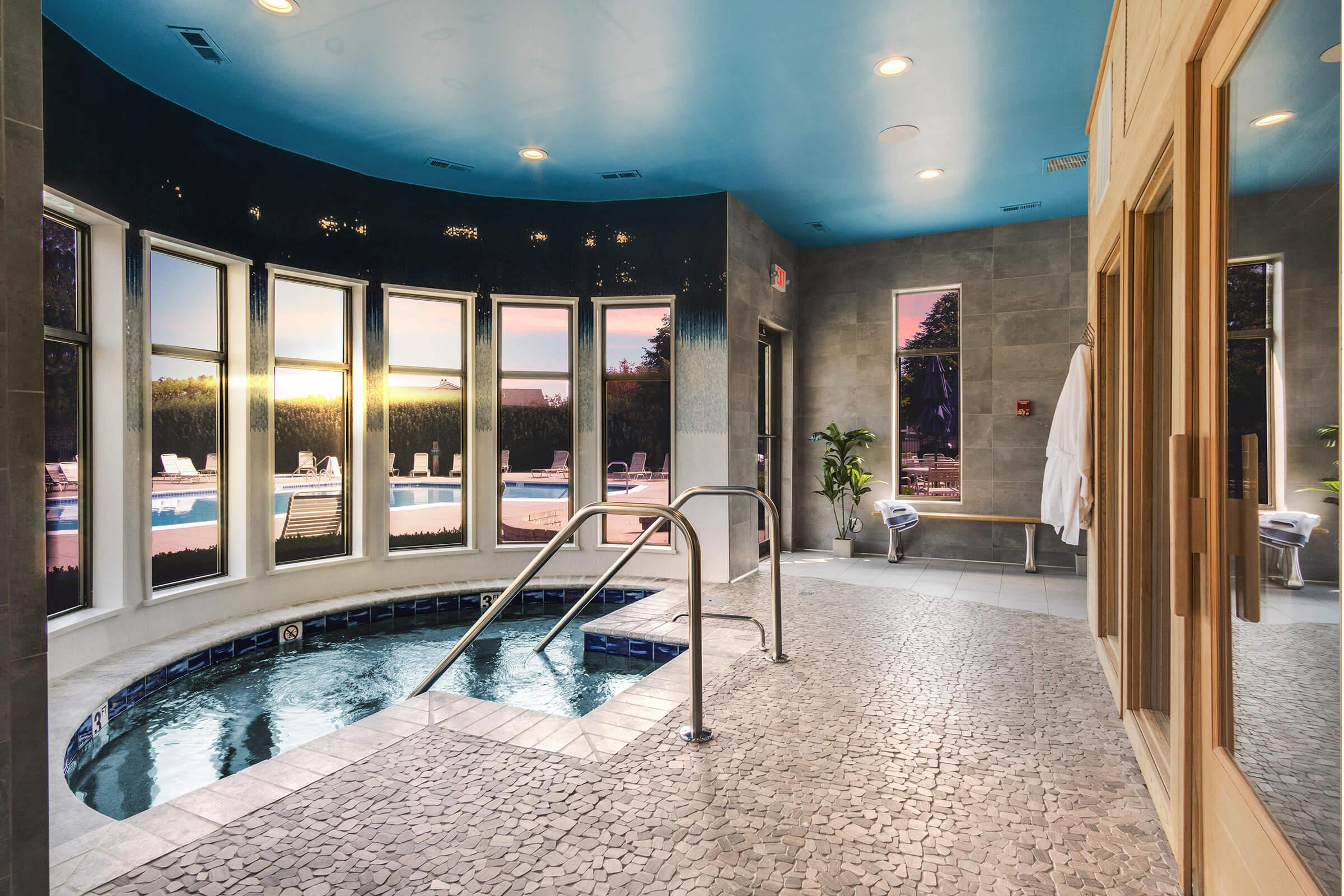 a room with a large pool of water