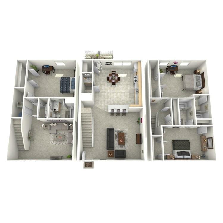 Floor plan image of 3 Bed 3.5 Bath