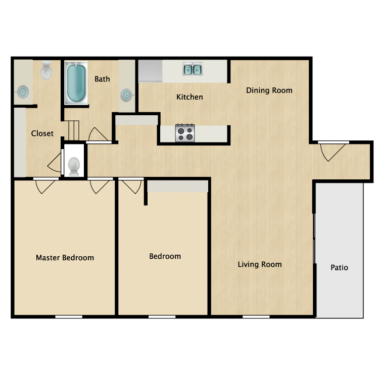 Floor plan image of Two Bedroom Garden Apartment