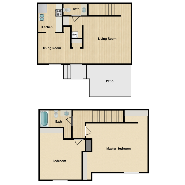 Floor plan image of Two Bedroom Town House