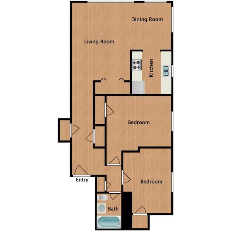 Floor plan image of Rainier 2 Bedroom 1 Bath