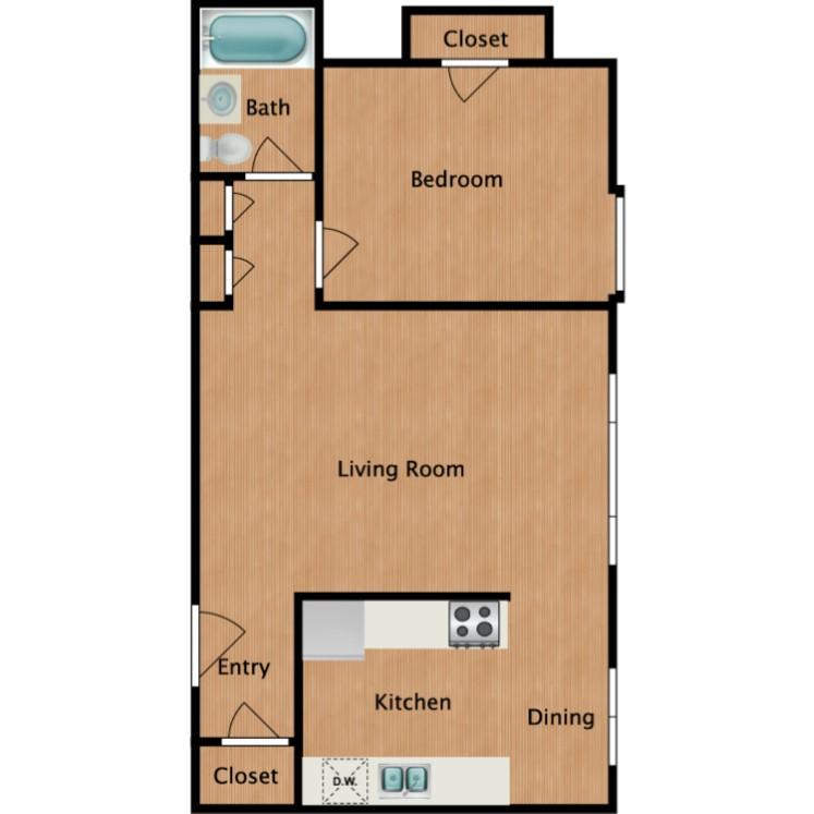 Floor plan image of Maple 1 Bedroom 1 Bath