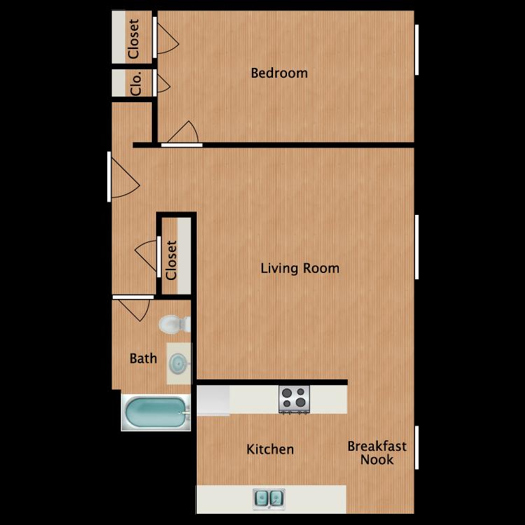 Floor plan image of Douglas Fir 1 Bedroom 1 Bath