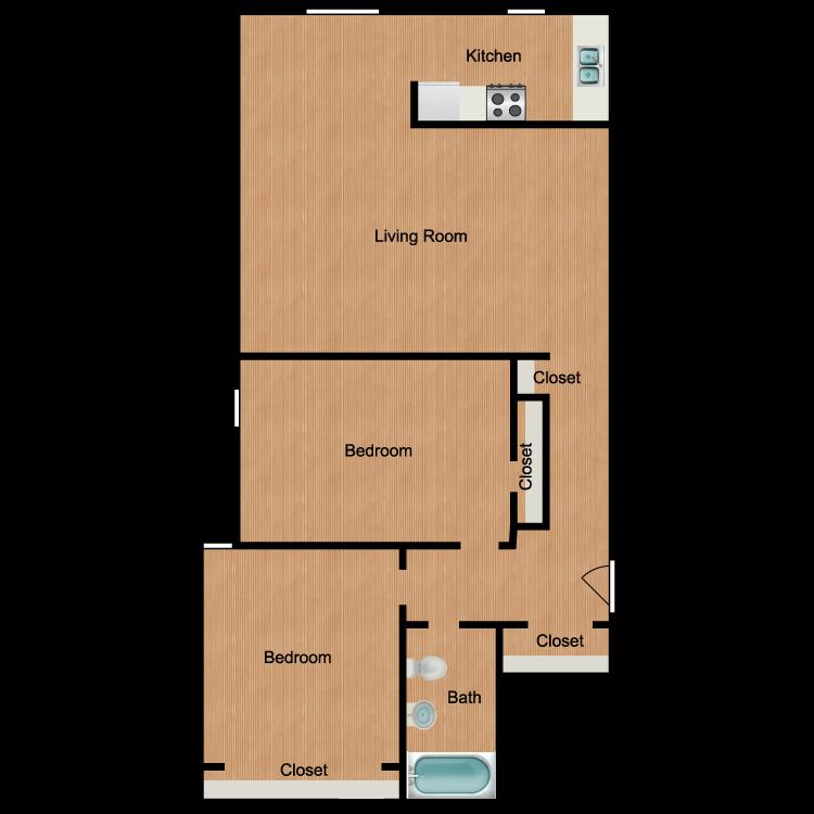 Floor plan image of Mt. Baker 2 Bedroom 1 Bath