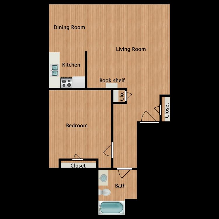 Floor plan image of Oak 1 Bedroom 1 Bath