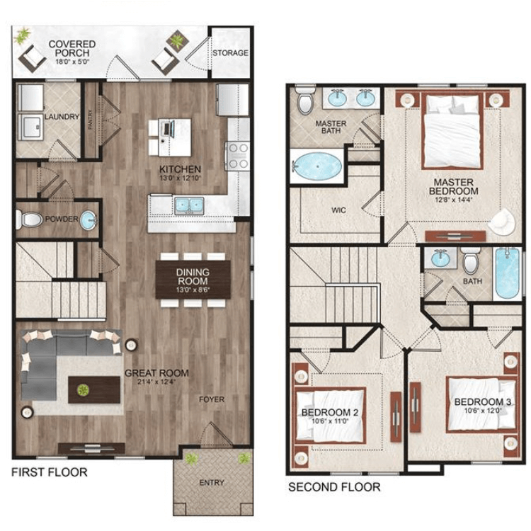 Floor plan image of Hudson Townhome