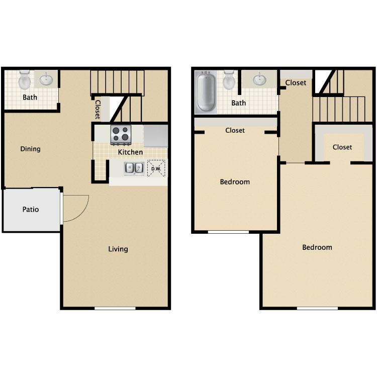 2 Bed 1 5 Bath. La Residencia   Availability  Floor Plans   Pricing