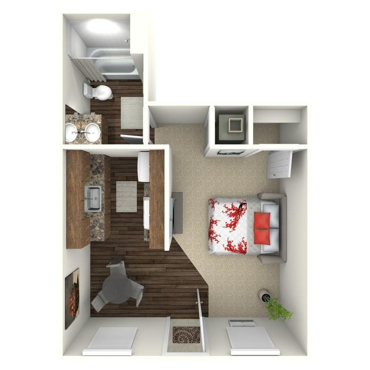 Floor plan image of Studio 1 Bath
