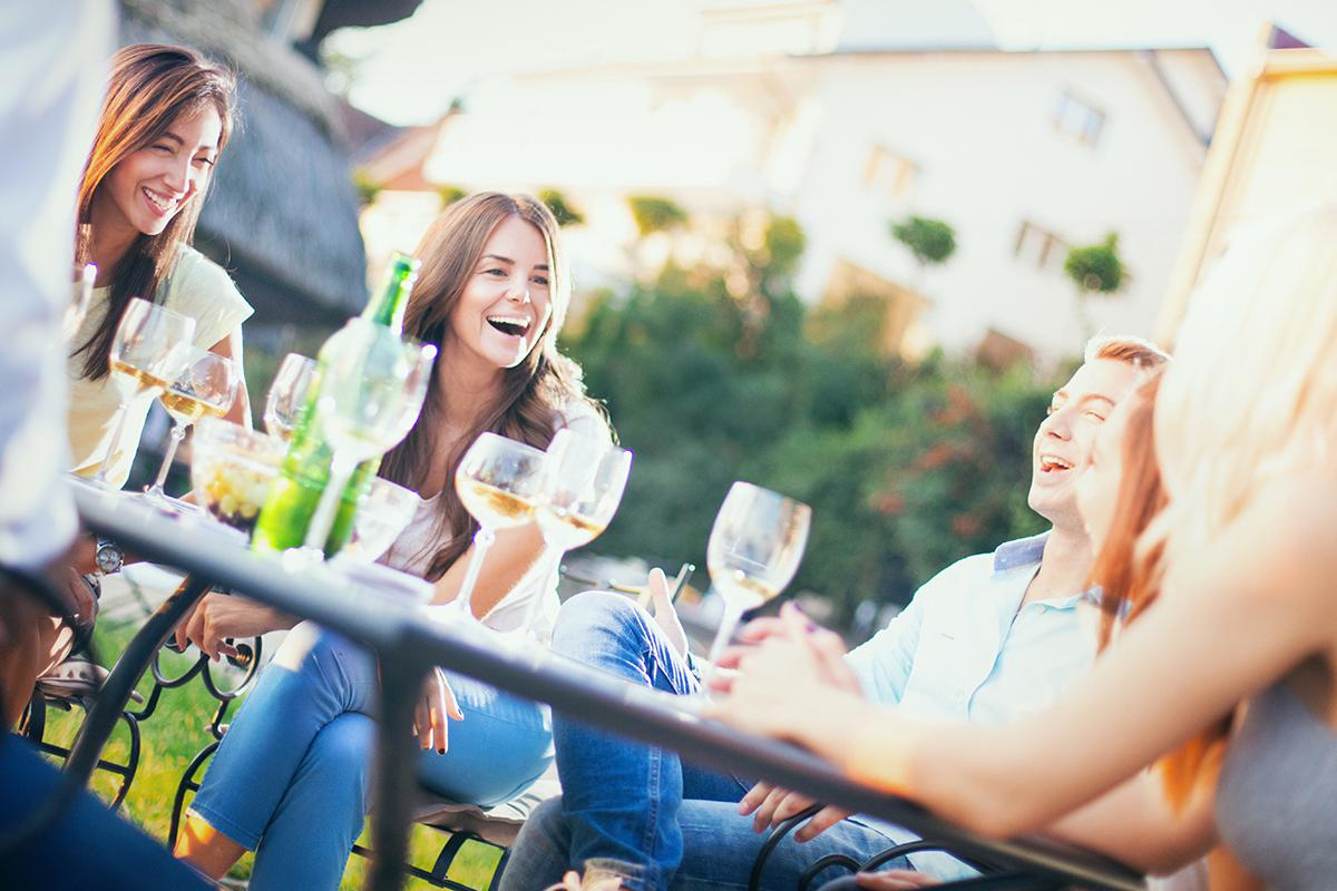 Happy Residents Gathering Outdoors